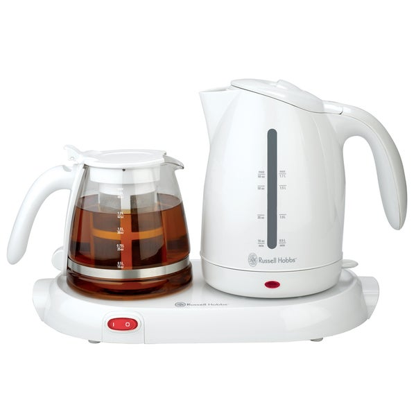 White 1.76-liter Electric Kettle and Warming Tray