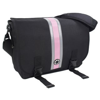 DadGear Messenger Diaper Bag, Center Stripe Pink