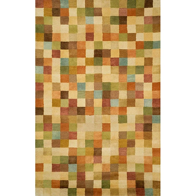 Hand-tufted Pastel Boxes Wool Rug (3'6 x 5'6)