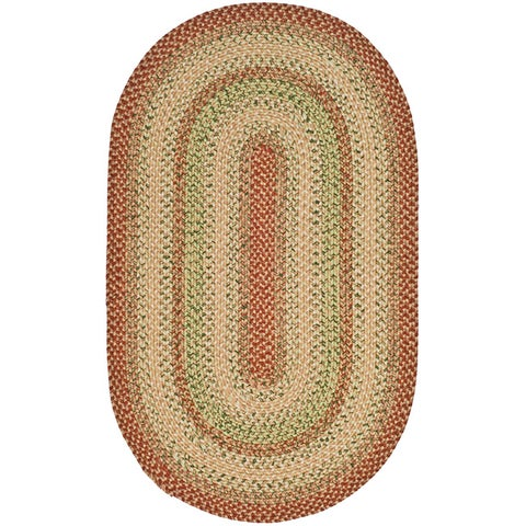 Safavieh Hand-woven Indoor/Outdoor Reversible Multicolor Braided Rug - 5' x 8' Oval
