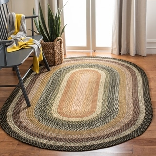Safavieh Handwoven Indoor/ Outdoor Reversible Multicolor Braided Polypropylene Rug (5' x 8' Oval)