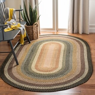Safavieh Handwoven Indoor/ Outdoor Reversible Multicolor Braided Polypropylene Rug - 5' x 8' Oval