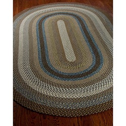 Safavieh Hand-woven Reversible Brown Braided Rug (5' x 8' Oval) - Thumbnail 1