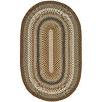 Safavieh Hand-woven Reversible Brown Braided Rug (5' x 8' Oval) - 5' x 8' Oval