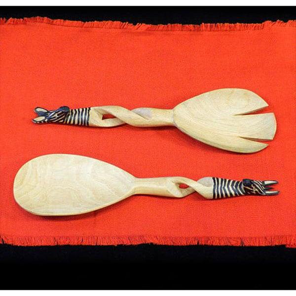 Set of 2 Hand-carved Zebra Salad Tongs (Kenya)