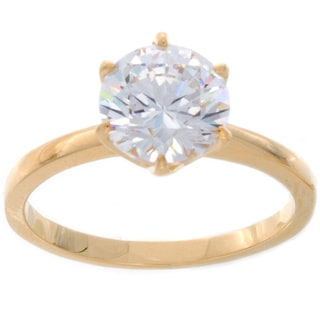 NEXTE Jewelry 14k Gold Overlay Clear Cubic Zirconia Bridal-inspired Solitaire Ring
