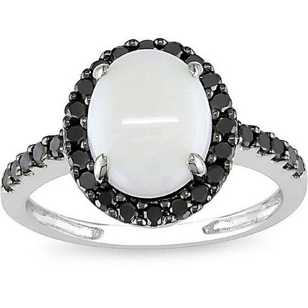 Miadora 10k Gold Opal and 2/5ct TDW Black Diamond Ring