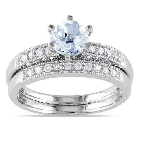 Miadora 10k Gold Gemstone and 1/3ct TDW Diamond Bridal Ring Set (H-I, I2-I3)
