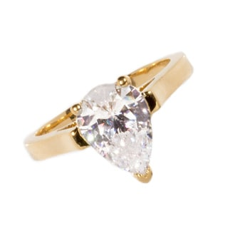 NEXTE Jewelry 14k Gold Overlay Pear-cut Cubic Zirconia Bridal-inspired Solitaire Ring