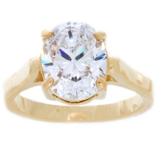 NEXTE Jewelry 14k Gold Overlay Oval-cut Cubic Zirconia Bridal-inspired Solitaire Ring