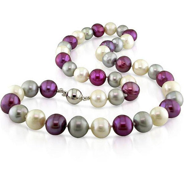 Miadora Multi-colored Cultured Freshwater Pearl Necklace (10-11 mm)