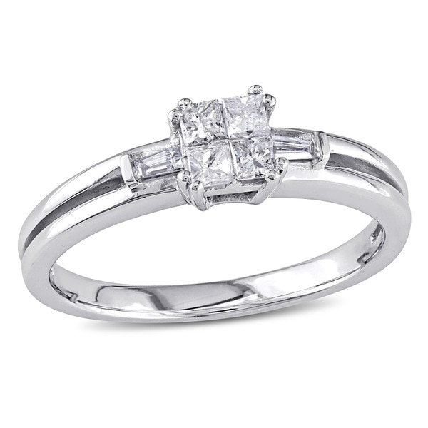 Miadora 10k White Gold 1/4ct TDW Diamond Ring