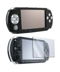 Insten Black Silicone Case and Screen Protector for Sony PSP 3000 (Pack of 2) - Thumbnail 2