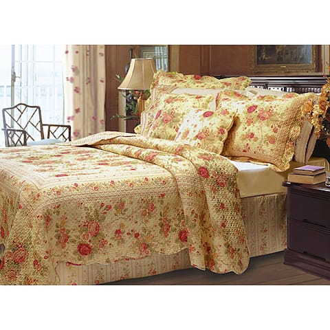 Greenland Home Fashions Antique Rose Quilted Cotton Pillow Shams (Set of 2)