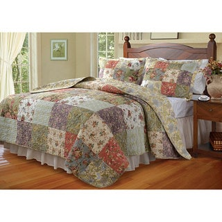 Greenland Home Fashions Blooming Prairie Cotton Quilted Pillow Shams (Set of 2)