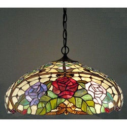 Tiffany-style Rose Floral Hanging Fixture