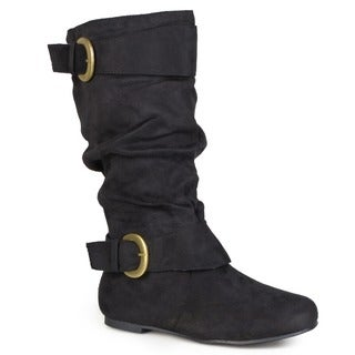 Journee Collection Women's Regular and Wide-Calf 'Shelley-12' Slouch Buckle Microsuede Boots