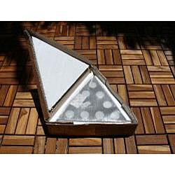 Premium Plantation Teak 9-tealight Triangle Candle Holder