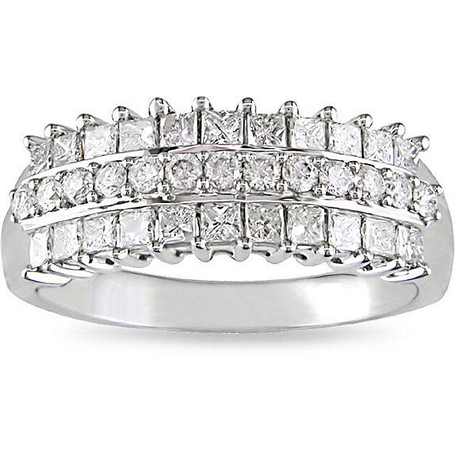Miadora 14k White Gold 7/8ct TDW Pave Multi Row Diamond Ring (H-I, I2-I3)