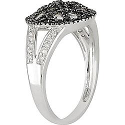 Miadora 10k Gold 1/3ct TDW Black and White Diamond Ring - Thumbnail 1
