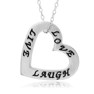 Journee Collection Sterling Silver 'Live Laugh Love' Open Heart Pendant