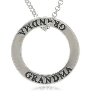 Journee Collection Sterling Silver 'Grandma' Affirmation Necklace