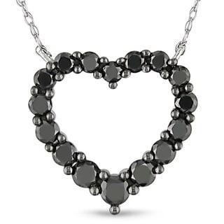 Miadora 10k Gold 1ct TDW Black Diamond Heart Necklace
