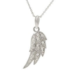 Journee Collection Sterling Silver Cubic Zirconia Angel Wing Necklace