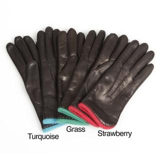 Portolano Women's Textured Leather Gloves