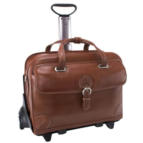 Siamod 'Carugetto' Leather Detachable Wheeled Laptop Case