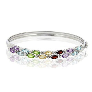 Glitzy Rocks Sterling Silver Mult-gemstone and Diamond Bracelet