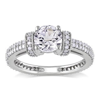 Miadora 10k Gold Created White Sapphire and 1/2ct TDW Diamond Ring (H-I, I2-I3)