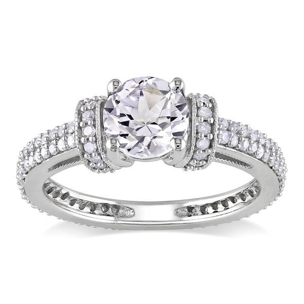 Miadora 10k Gold Created White Sapphire and 1/2ct TDW Diamond Ring (H-I, I2-I3)