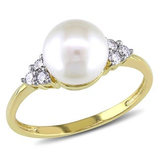 Miadora 10k Yellow Gold Cultured Freshwater Pearl and 1/8ct TDW Diamond Ring (7.5-8 mm) (H-I, I2-I3) (More options available)