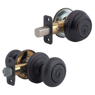 Kwikset Juno Knob and Single Cylinder Deadbolt Venetian Bronze Steel 2 Grade Right Handed