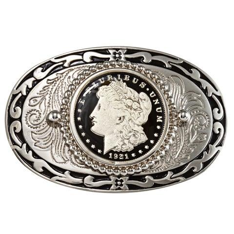 American Coin Treasures Black Enamel Morgan Silver Dollar Belt Buckle