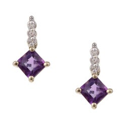 10k Yellow Gold Amethyst and Diamond Accent Earrings