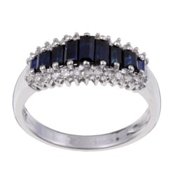 Sofia 14k White Gold Sapphire and 1/5ct TDW Diamond Ring (H-I, I2)