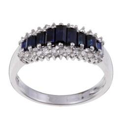 Sofia 14k White Gold Sapphire and 1/5ct TDW Diamond Ring (H-I, I2)
