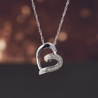 Miadora Diamond Accent Tilted Open Heart Necklace in 10k White Gold (G-H, I2-I3)