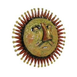 Red 3D Sun Face Oil Drum Art  , Handmade in Haiti - Thumbnail 1