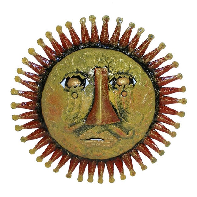 Red 3D Sun Face Oil Drum Art  , Handmade in Haiti
