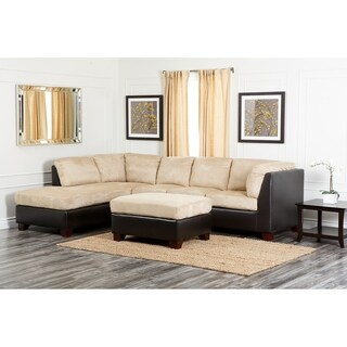 Abbyson Charlotte Beige Sectional Sofa and Ottoman