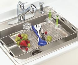 Happy Housewares Stainless Steel Adjustable Over-the-sink Drying Tray - Thumbnail 1