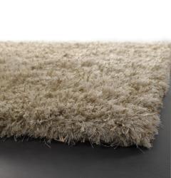 Hand-woven Mandara White Wool Rug (5'3 x 7'9) - Thumbnail 1