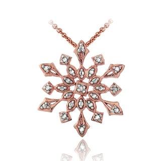 DB Designs Silver Diamond Accent Snowflake Necklace