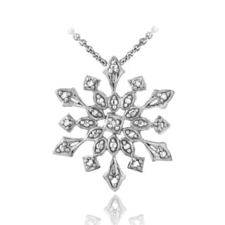 DB Designs Silver Diamond Accent Snowflake Necklace