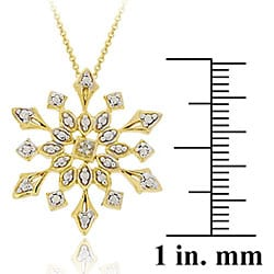 DB Designs 18k Gold over Sterling Silver Diamond Accent Snowflake Necklace - Thumbnail 1