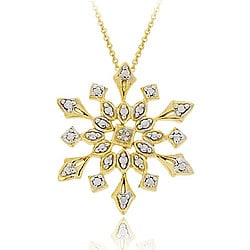 DB Designs 18k Gold over Sterling Silver Diamond Accent Snowflake Necklace