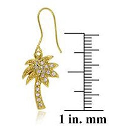 Thumbnail 2, Icz Stonez 18k Gold over Sterling Silver Cubic Zirconia Palm Tree Earrings. Changes active main hero.